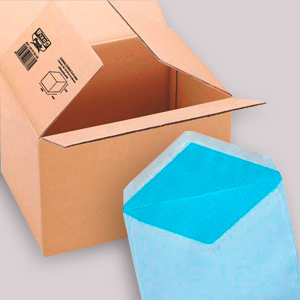 mail boxes, sealing tape and envelopes
